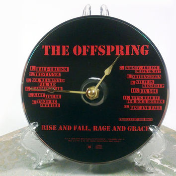 CD Clock, Desk Clock, Wall Clock, The Offspring, Recycled Music Compact Disc, Upcycle, Battery, Wall Hanger & Stand ALL INCLUDED