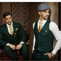 Fashion men suits 2018 Custom Made Dark Green Slim Fit Men Suits Formal Occasion Business Suits custom