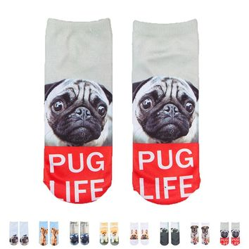 Pug Life Dogs Socks Funny Crazy Cool Novelty Cute Fun Funky Colorful