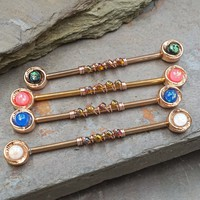 Round Opal Rose Gold Industrial Barbell