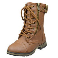 Kids Mid Calf Boots Buckle Accent Lace Up Combat Boots Tan SZ