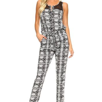 Tribal Print Jumpsuit with Mesh Neck