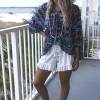 Sweet Day Ikat Printed Lace-Up Top