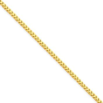 1.5mm, 14k Yellow Gold, Solid Franco Chain Necklace, 20 Inch