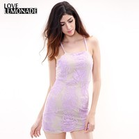 Love&Lemonade  Lavender Embroidery Lace Mesh Halter Dress. Party Dress TB 7916