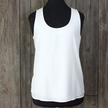 Ann Taylor S size Tank Top New Ivory Lined Front Womens Blouse Lightweight 39.50