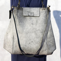 Sale 10% OFF leather bag/oversize/grey color/for women/tote/handmade