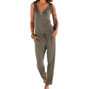 Sexy Sleeveless Overalls Outfits V-Neck Beach Summer Women Fashion Jumpsuits Long Overalls Jumpsuit 2018  Plus Size LX341