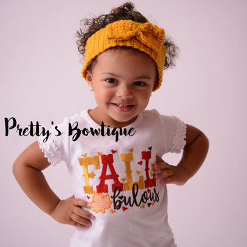 Girls Fall Shirt Embroidered with Fall bulous – Sizes Newborn to Youth XL