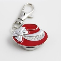 Red beautiful hat cap keychain pocket watch for girl's lady's kid's gift