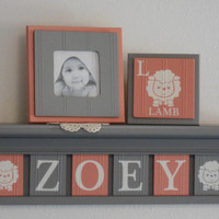 "Lamb Baby Name Blocks . Lamb Nursery Name Letters . 6 Plaques Coral / Gray Personalized Name Plaques for ZOEY with Lambs . 24"" Grey Shelf"