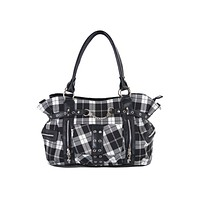 Black and White Tartan Plaid Rockabilly Purse with Handcuff Skull Charm