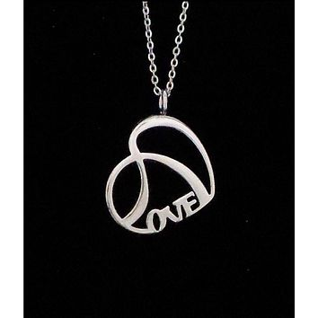 LOVE Necklace Shiny Stainless Steel Double Heart with Chain
