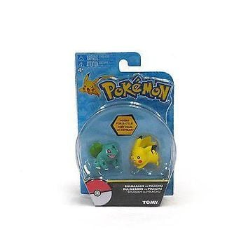 TOMY Pokemon Bulbasaur and Pikachu 2-Pack Action Pose Figure Set Authentic USA