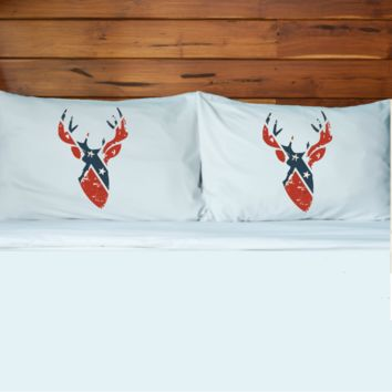Rebel Flag Buck Pillow Case