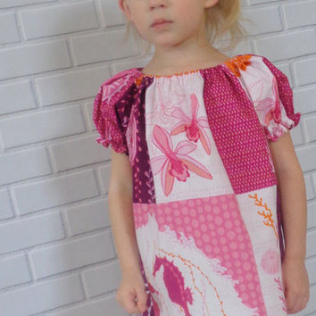 Girls Summer Dress Purple and Orange Seahorse Boutique Clothing By Lucky Lizzy's