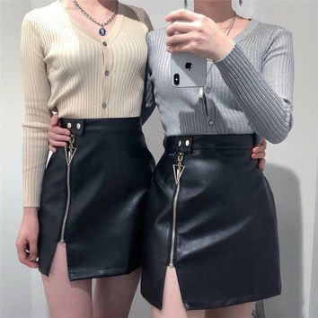 Sexy Zipper Up Leather Skirt Rivet Bodycon Pencil Skirts Black High Waist Skirts Womens harajuku faldas mujer moda jupe femme