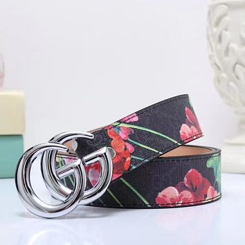 GUCCI Woman Fashion Print Smooth Buckle Belt Leather Belt