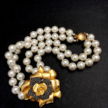 Judith Jack Gilt Flower Necklace, Double Strand Faux Pearl Necklace, Layer of Sterling Marcasite Petals , Signed, Vintage Wedding Necklace