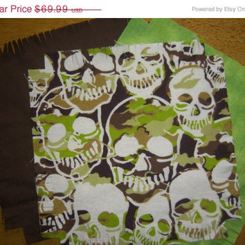"Skull Flannel rag quilt kit  Skeleton fringed die cut fabric squares and batting complete set  ready to sew 45.5""x58.5"