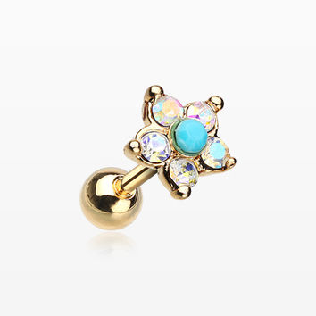 Golden Starburst Turquoise Sparkle Flower Cartilage Tragus Earring