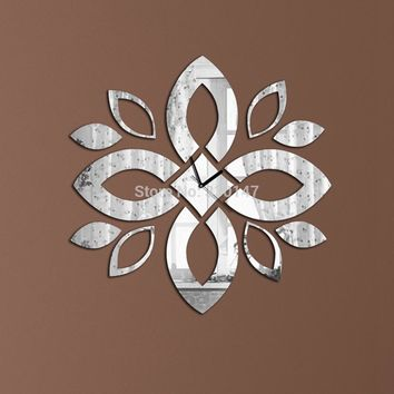 Flowers Leaves Mirrored Wall Clock