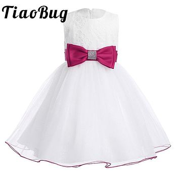 2017 Summer Girls Flower Dress  Baby Kids Girls Children's Clothing Party Princess Wedding Prom Tulle Lace Tutu White Dresses