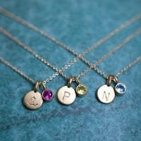 Supermarket: 14k Gold Vermeil Tiny Initial and Birthstone Necklace from Anne Kiel Jewelry
