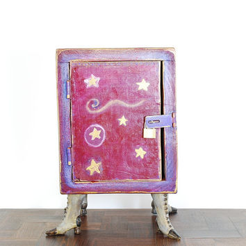Funky storage box with boots - quirky wooden box - burgundy and purple - unique burgundy art - wooden storage box