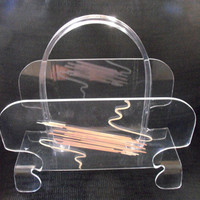 "Vintage Lucite Magazine Rack - Retro - RARE - COOL Mid Century Modern - Hollywood Regency - ""Old Hollywood""  to Paris Apartment"