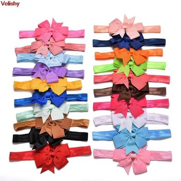 Velishy-20 Pcs/lot DIY Grosgrain Ribbon Bow Elastic Child Hair Bands Hair Bow Headband For Women Lady Children