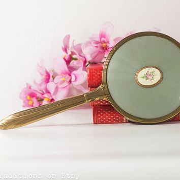 Vintage Hand Mirror:  Vanity Mirror / Makeup Mirror, Metal Golden Frame Large Hand Mirror, Vintage Gift Idea for Her