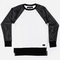 Side Slit Crew Sweater (White w/ Black Mesh)
