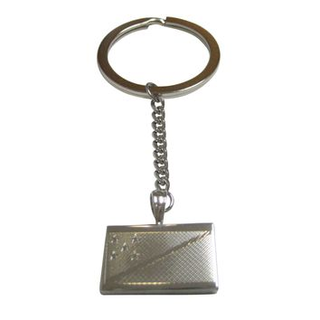 Silver Toned Etched Solomon Islands Flag Pendant Keychain
