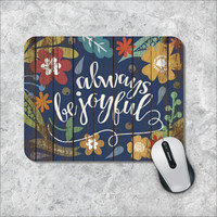 Bible Verse Mousepad, Quote Mouse Pad, Watercolor Mouse Mat, Be Joyful, Floral Mouse Pad, Custom Mousepad, Wooden Mouse Pad, Inspirational