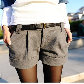 Fashion Woolen Shorts Match Boot Cut Jeans Shorts Ladies' Shorts