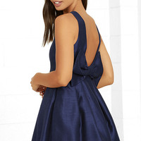 Bow Me a Kiss Navy Blue Backless Dress
