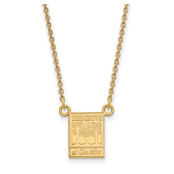 NCAA 14k Yellow Gold U of Mississippi Small Pendant Necklace