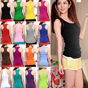 2016 Summer Fashion Women' s Racerback Tank Tops Cami Mini Sleeveless  Vest Hign Waist T-Shirt Candy Color top fitness A1