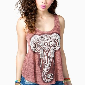 Embroidered Elephant Tulip Back Tank