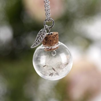 New Glass Ball Feather Dandelion Seeds Birthday Present Wishing Bottle Presents The Gift To The Best Friend