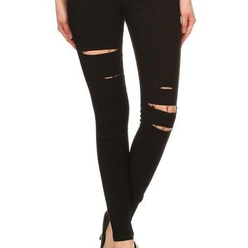 Solid Mid Rise Ripped Jeggings - Black