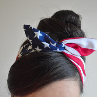 Patriotic Dolly bow, American Flag head band, hair bow