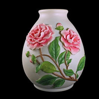 Table Vase, Ibis and Orchid Design, Camellia Pattern,  Hand Painted, Bonded Marble, Raised Flower Design, Pink Floral Vase
