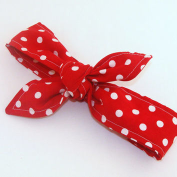 Baby Toddler Pre-tied Head Scarfs Red with White Polka Dots Rosie the Riveter Baby Headband Hair Accessory