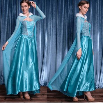 Retail 2018 New Cinderella Dress Adult Women Blue Princess Costume Party Lady Ball Gown Dress Holloween Cosplay Vestido AS305