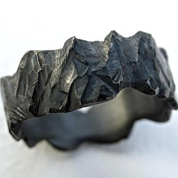 rustic viking ring hand carved, mens forged ring black silver, rugged silver ring, wide mens ring silver, rustic wedding band mens