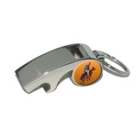Rodeo Cowboy Orange - Western Horse Country Whistle Bottle Opener Keychain