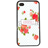 PERSONALIZED FLOWERS Case / FLORAL Polka Dot Banner iPhone 4 Case iPhone 5 Case iPhone 4S Case iPhone 5S Case Initials Name iPhone 5C