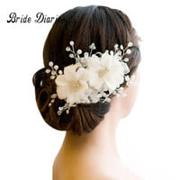 hair ornaments wedding hair accessories Floral Headdress Romantic Lace Hairwear flower wedding bride hair accessories bridal